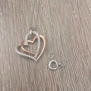 Diamond accent 925/14KRGP Heart Pendent